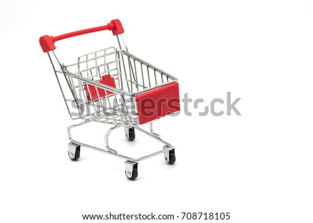 Shopping cart on white background.