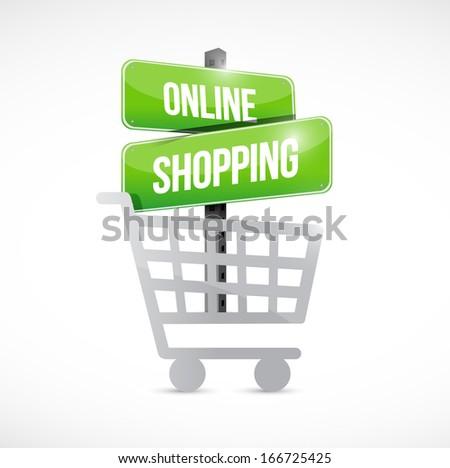 shopping cart online shopping sign illustration design over white - stock photo