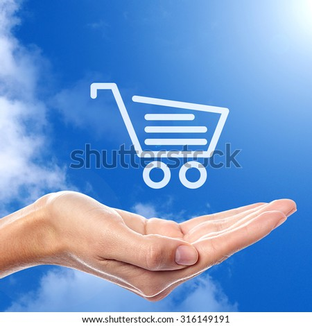 Shopping cart or trolley icon - stock photo