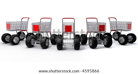 Shopping cart shop commerce turbo speed group - stock photo