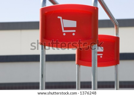 Shopping Cart Signs in the Parking Lot - stock photo