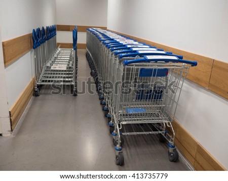 Shopping cart stack - stock photo