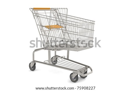 Shopping Cart. Steel Shopping Trolley with orange seat and handle.