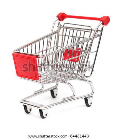 shopping cart top view isolated on white - stock photo
