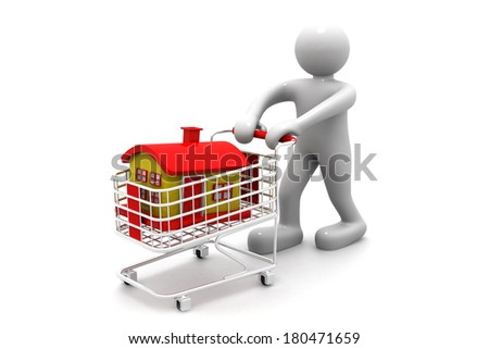 shopping cart trolley with house with business man  - stock photo
