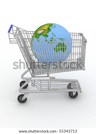 Shopping cart with a globe on a white background - stock photo
