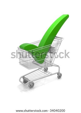 Shopping cart with a green check mark. Part of a series. - stock photo
