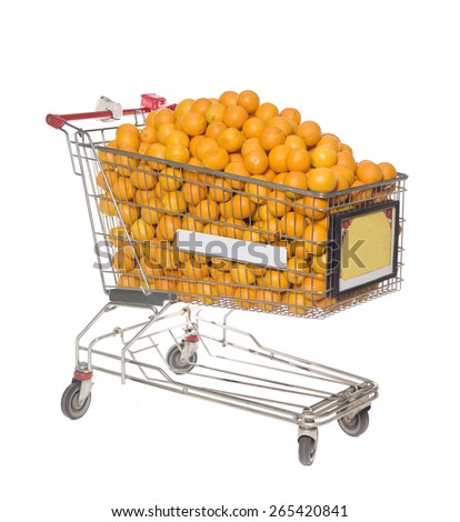 Shopping Cart with a large group of Oranges isolated on white background - stock photo