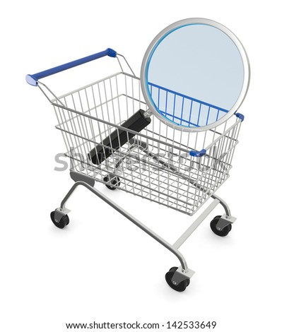 shopping cart with a magnifying glass, concept of search for the best deal (3d render)