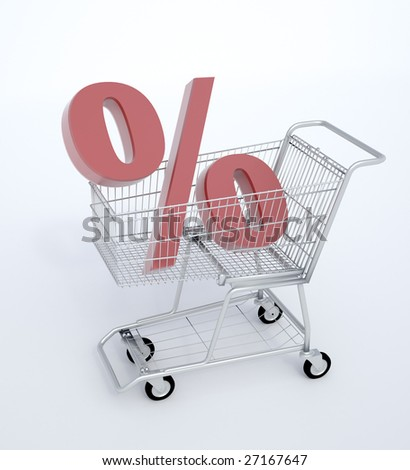 Shopping cart with a percentage sign