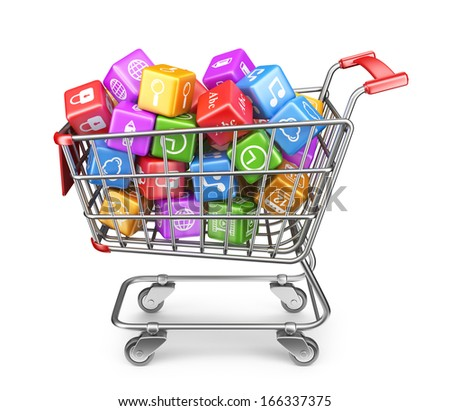 Shopping cart with app icons. 3D Isolated on white background - stock photo
