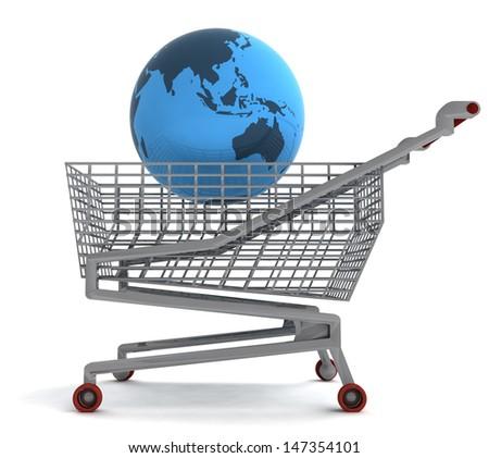 shopping cart with asia on globe illustration - stock photo