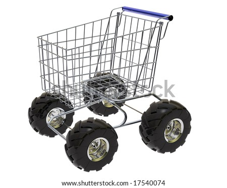Shopping Cart with big off-road tires in white background. - stock photo
