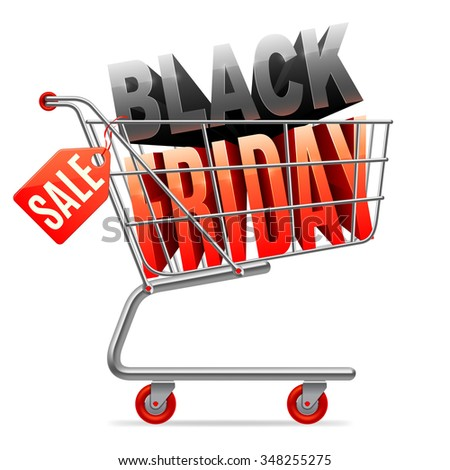 Shopping cart with Black Friday 3D text inside and Sale tag