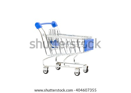 Shopping cart with blue handle on white background