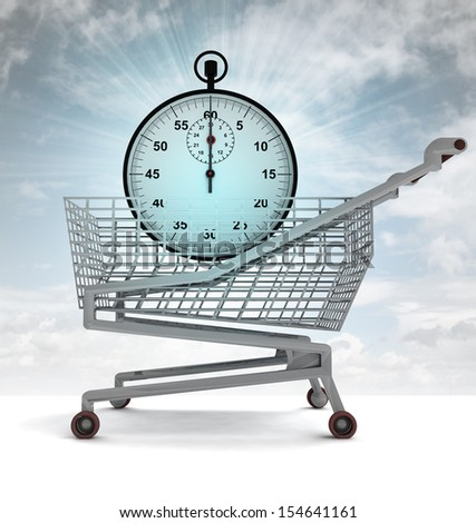 shopping cart with blue stopwatch and sky flare illustration - stock photo