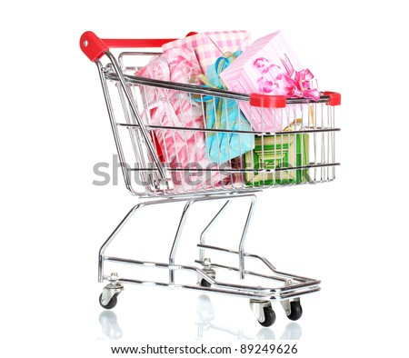shopping cart with bright gifts isolated on white