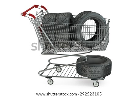 shopping cart with car tires isolated on white background - stock photo