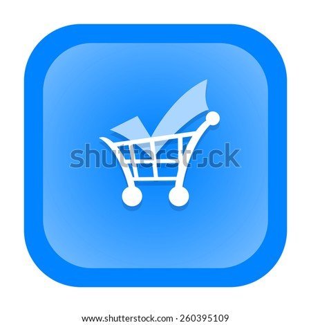 Shopping cart with check mark icon - stock photo