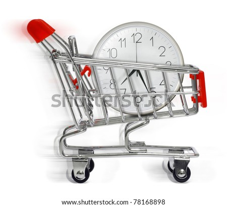 shopping cart with clock in white background - stock photo