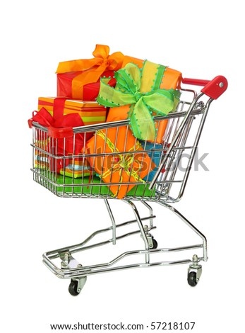 Shopping cart with colorful gift boxes isolated on white background - stock photo