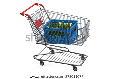 shopping cart with crate beer isolated on white background - stock photo
