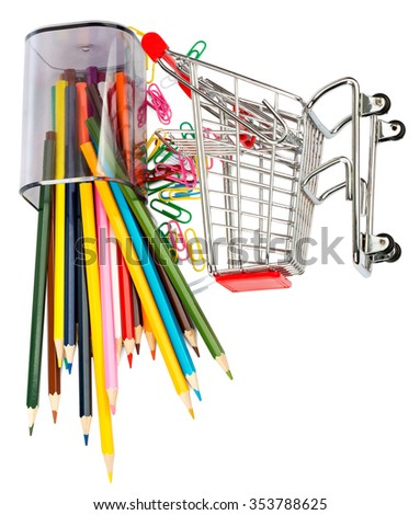 Shopping cart with crayons and paper clips on white background