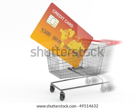 Shopping cart with credit card - stock photo