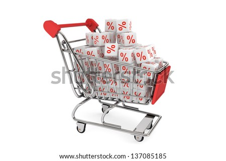 Shopping cart with discount cubes on a white background - stock photo
