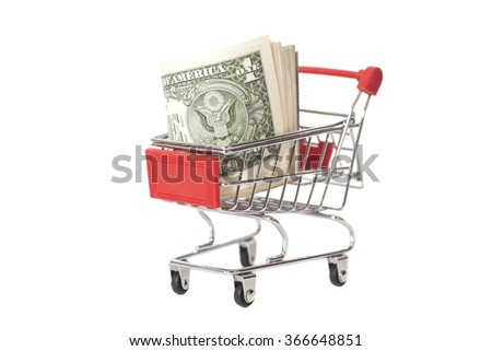 Shopping Cart with dollars  isolated on white