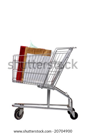 shopping cart with gift bags isolated on white