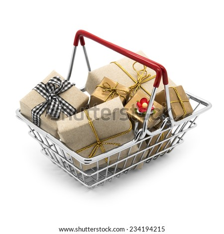 Shopping cart with gifts on a white background - stock photo