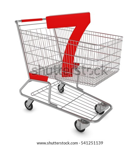 Shopping Cart with Number Seven Isolated on White - 3D Illustration