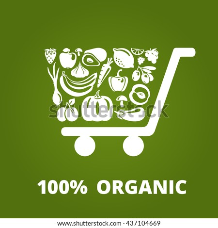 Shopping cart with organic fruits and vegetables. Organic food illustration and logo concept