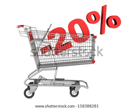 shopping cart with 20 percent discount isolated on white background