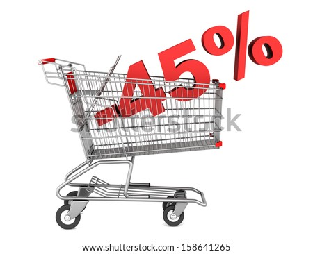 shopping cart with 45 percent discount isolated on white background