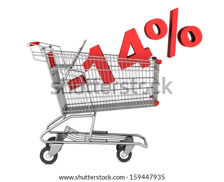 shopping cart with 14 percent discount isolated on white background