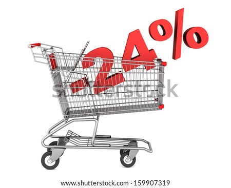 shopping cart with 24 percent discount isolated on white background