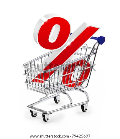 Shopping cart with percent sign - stock photo