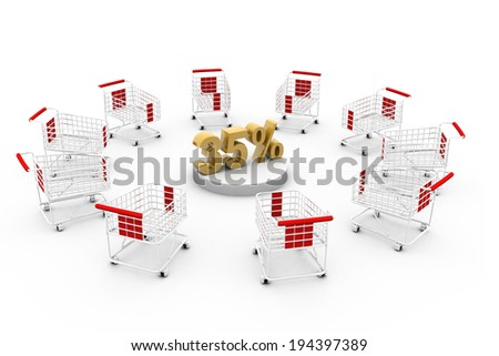 Shopping cart with percentage	 - stock photo