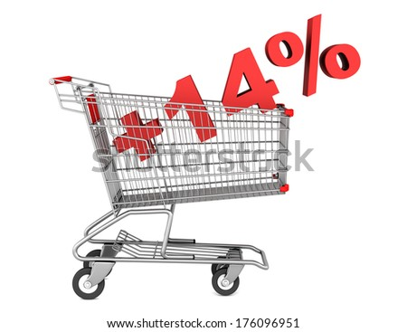 shopping cart with plus 14 percent sign isolated on white background