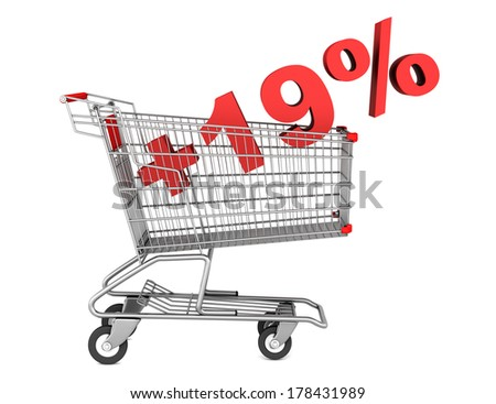 shopping cart with plus 19 percent sign isolated on white background