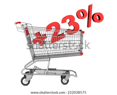 shopping cart with plus 23 percent sign isolated on white background