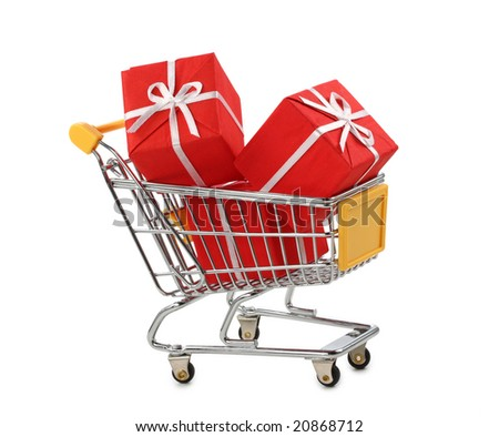 Shopping cart with presents isolated on white background