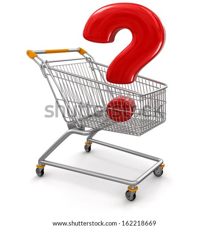 Shopping Cart with Quest  (clipping path included) - stock photo