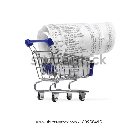 Shopping cart with receipts on white. Consumerism concept  - stock photo