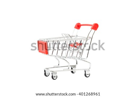 Shopping cart with red handle on white background