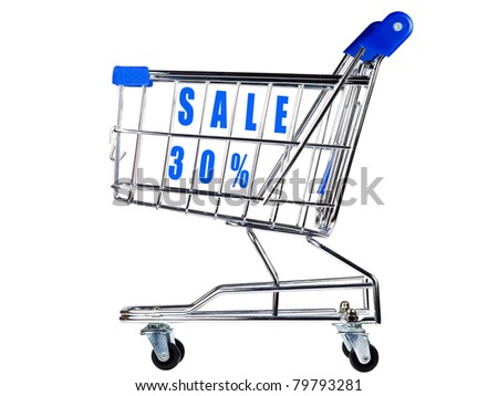 Shopping cart with sale 30% - stock photo