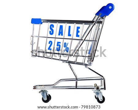 Shopping cart with sale 25% - stock photo
