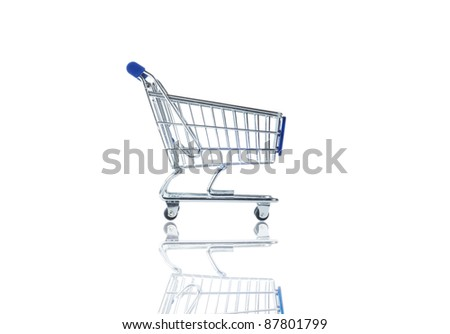 shopping cart with shadow isolated on white background